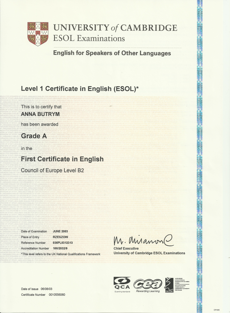 First Certificate In English FCE University Of Cambridge