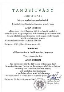 Debreceni Nyari Egyetem certificate