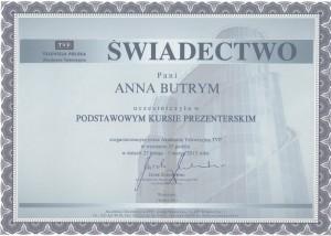 Anna Butrym_Podstawowy kurs prezenterski_Dyplom