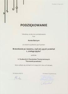 Anna Butrym 11 Studenckie Warsztaty Tłumaczeniowe przekład literatury węgierskiej wykład Bratankowie po naszemu